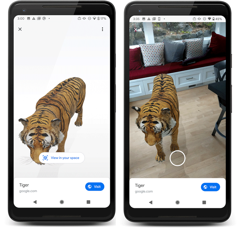 Google's Scene Viewer lets developers embed 3D images into scenes for an AR experience.  Images: Google