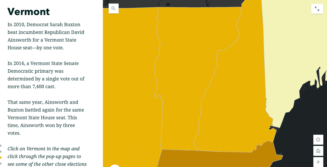 Close races happened in Vermont in 2010 and 2016.  Screenshot from People for the People.