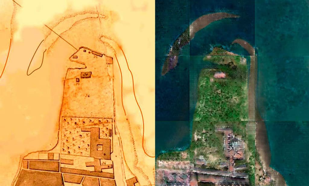Henrique Andrade and Bruno Fernandes applied Pix2Pix on this 1803 map (L) by José Fernandes Portugal of Recife, Brazil to convert it to an AI-generated image ®.  Source: Andrade, H. J., & Fernandes, B. J. (2020). Synthesis of Satellite-Like Urban Images From Historical Maps Using Conditional GAN. IEEE Geoscience and Remote Sensing Letters.