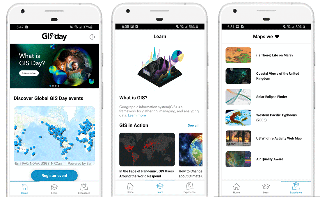 Screenshots from Esri's GIS Day mobile app.