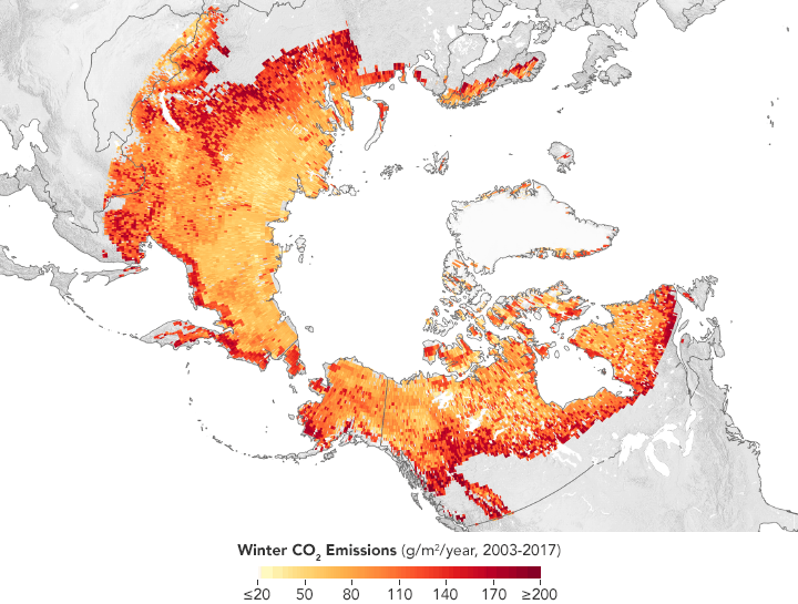 The Arctic permafrost is becoming a winter source of carbon emissions.  A study published last year in Nature found that 1.7 billion metric tons of carbon were lost from Arctic permafrost regions during each winter from 2003 to 2017.  Map: NASA