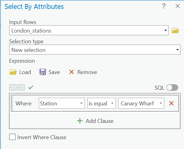 Selecting stations feature layer using the Select tool in ArcGIS