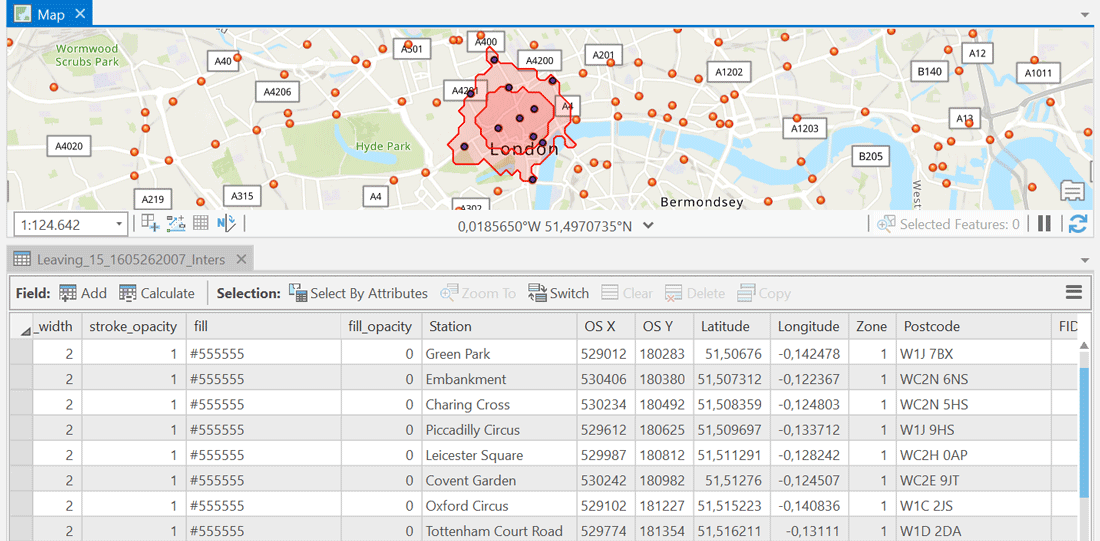 Results table showing catchment areas for London stations in ArcGIS.