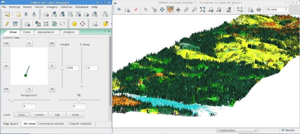 Screenshot from GRASS showing part of the user interface. Source: grass.osgeo.org