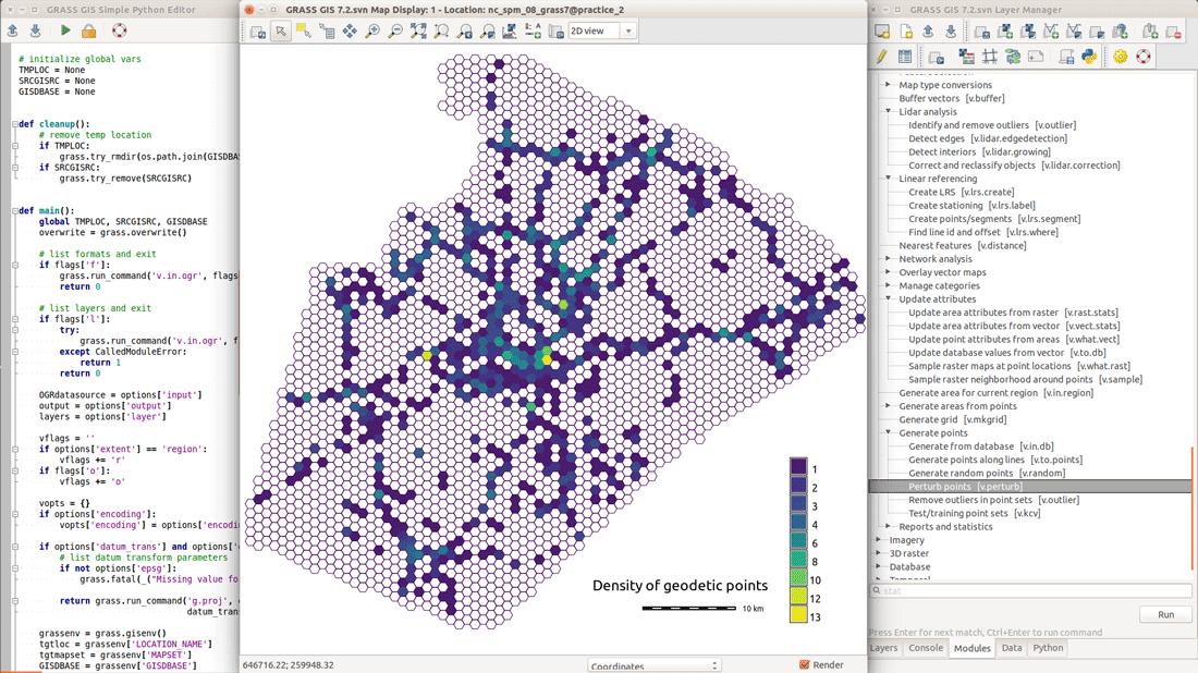 Hexagons Python Editor in GRASS.  Screenshot from grass.osgeo.org