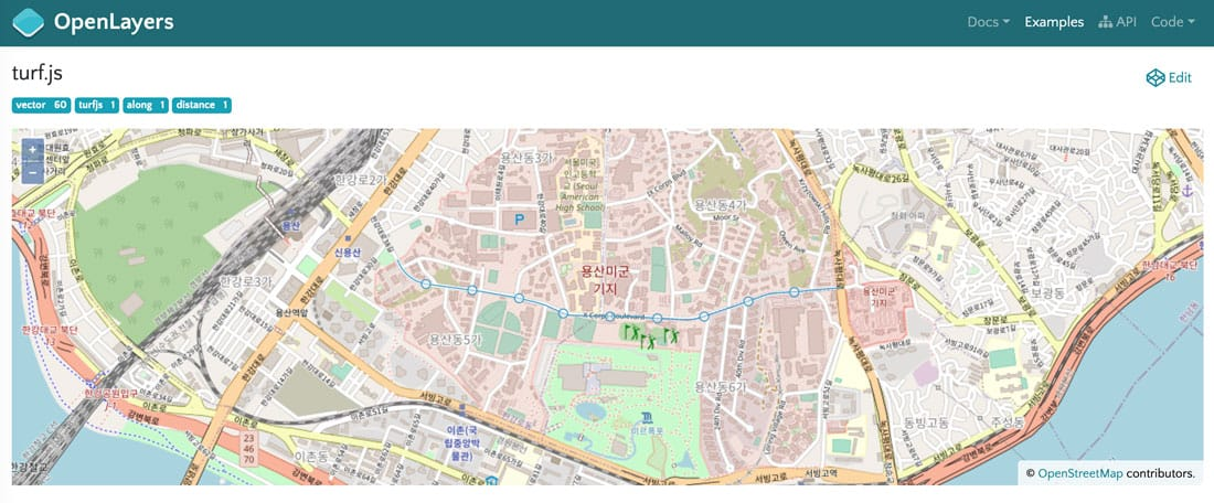 Example showing the integration of turf.js with OpenLayers. The turf.js function along is used to display a marker every 200 meters along a street. Screenshot from OpenLayers.