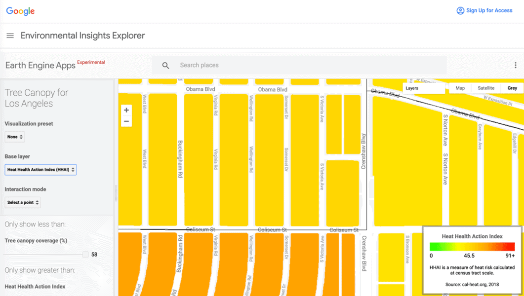 Zoomed in view of the Heat Heath Action Index - HHAI calculation for a neighborhood in Los Angeles from the Tree Canopy for Los Angeles map.