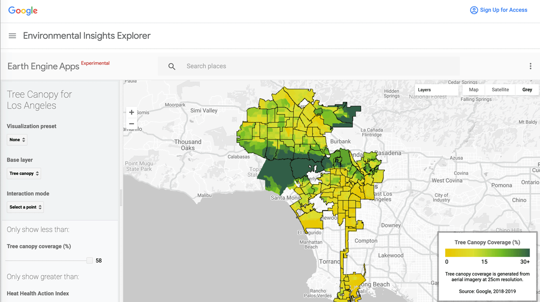 Tree Canopy Lab map of tree canopy in Los Angeles.