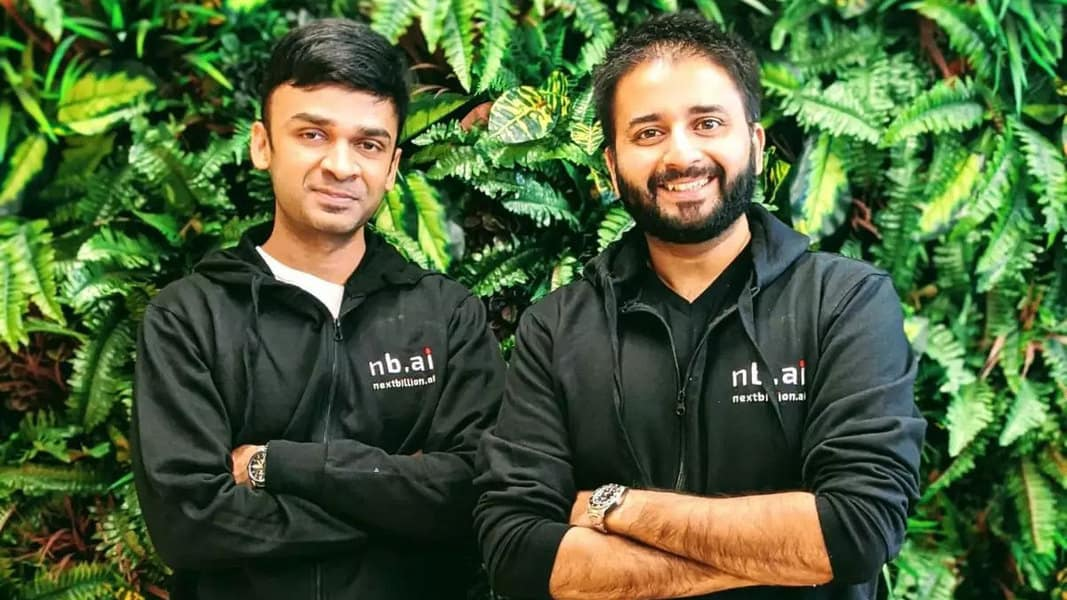 NextBillion AI founders chief product officer Gaurav Bubna (L), COO Ajay Bulusu (R), and CTO Shaolin Zheng (not pictured). Photo: NextBillion AI