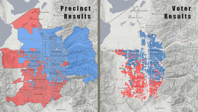 Figure 1: 2020 Presidential Election Results in Salt Lake County.  The map on the left shows election results across the precinct.  The map on the right shows the same election results by precinct but with uninhabitable areas remove.  Maps: Greg Bunce.
