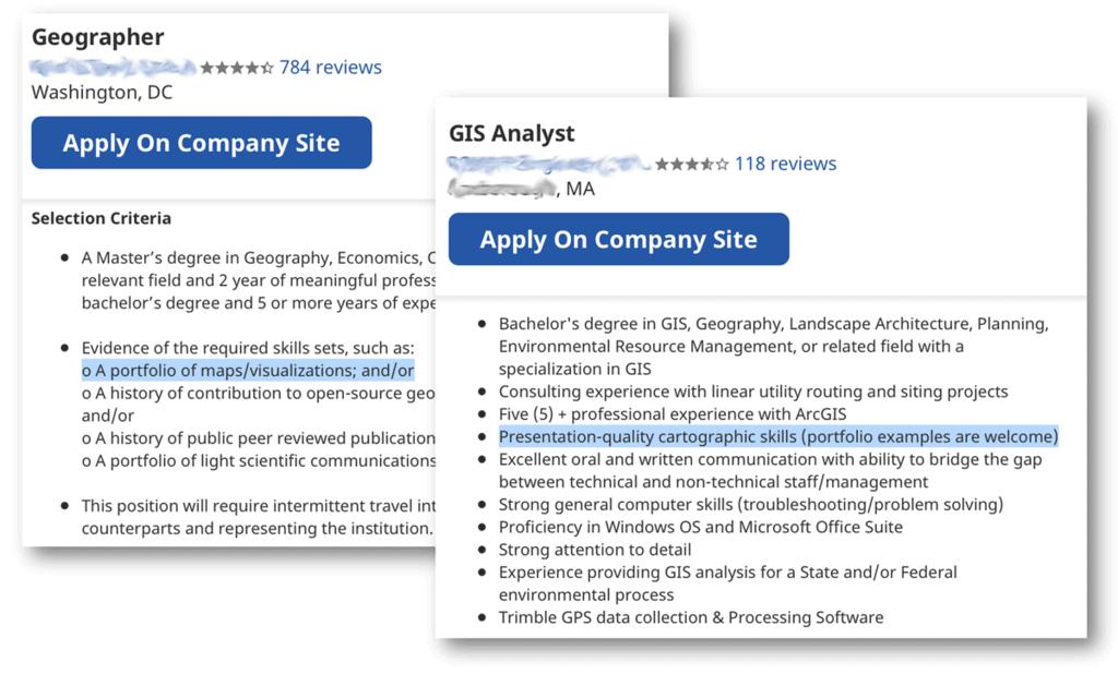 A screenshot of two GIS jobs that require a GIS portfolio.