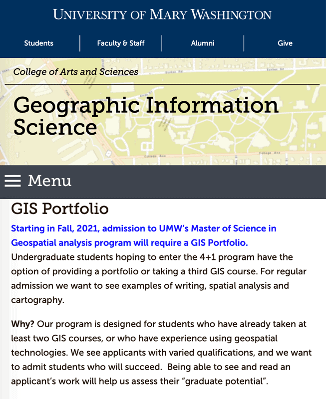 The University of Mary Washington is one graduate program that requires applicants to submit a GIS portfolio. Screenshot taken 14-February-2021.