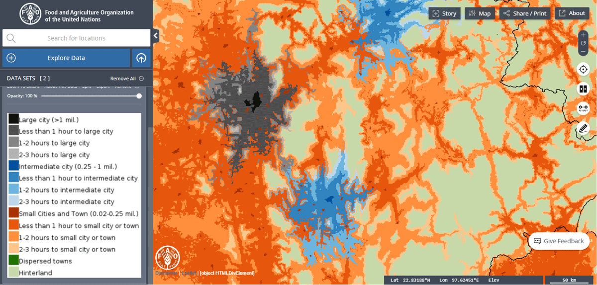 A zoomed-in view of the Urban–Rural Catchment Areas (URCAs) GIS dataset.