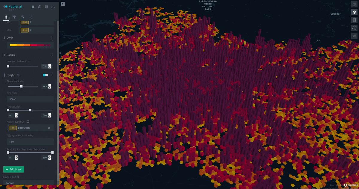 Population data for Moscow city and Moscow region visualized in Kepler.gl.  Image: GeoAlert.
