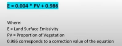 Formula for calculating Land Surface Emissivity (LSE).