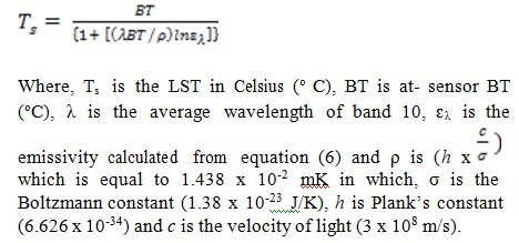 Formula for calculating land surface emission from LSE, BT and NDVI.