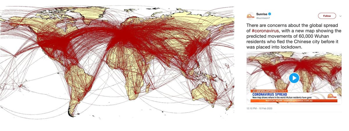 A 2012 map of airline routes was circulated among media sources during the early months of the pandemic as a map of Covid-related movement.  Map: Huang et al., 2012, International Journal of Health Geographics, CC BY 2.0.  Tweet from @Sunriseon7, February 10, 2020.