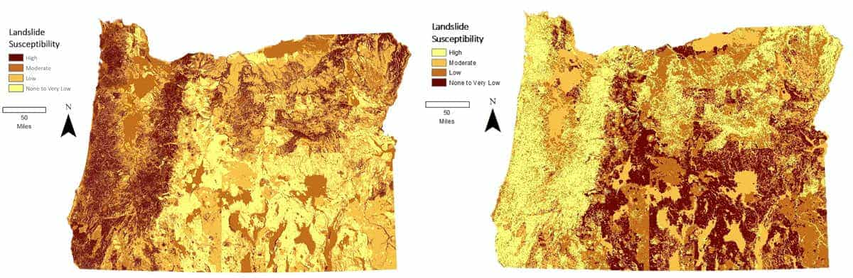 Maps of Oregon landslide susceptibility as presented by Carson MacPherson-Krutsky.