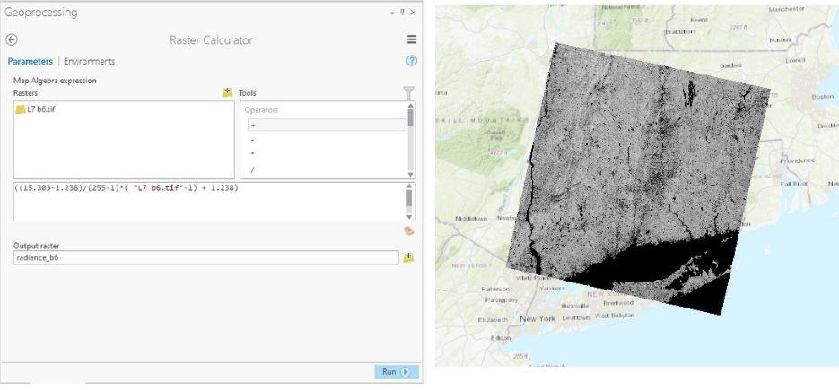 Figure 6: Conversion of DN values to TOA radiance in ArcGIS Pro.