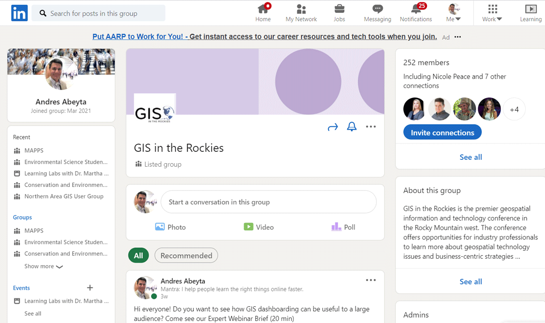 GIS group post on LikedIn from Andres Abeyta.