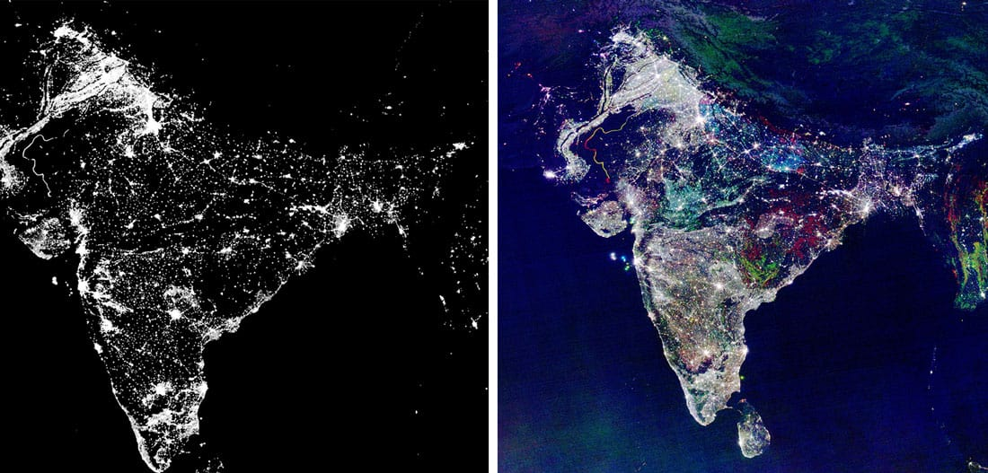 The image of India on the right is an example of misappropriation of satellite imagery. The image was created from the satellite imagery on the left which shows night lights in India taken in 2003. NOAA manipulated the image to be an RGB Composite of Nighttime Lights Change with red representing 2003 and green representing 1992. The image has since made the rounds periodically on social media purporting to be an image of India on Diwali night.